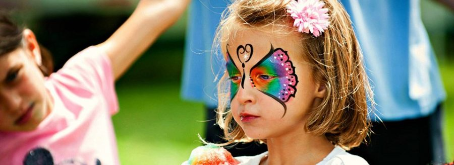 Summer time butterfly face painting
