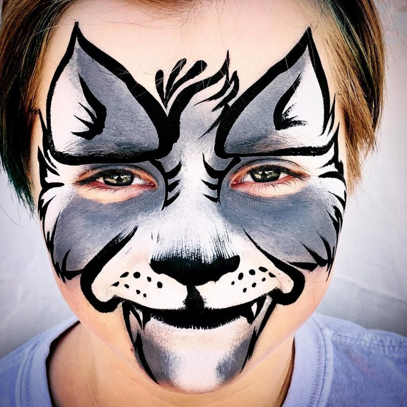 Grey wolf face painting